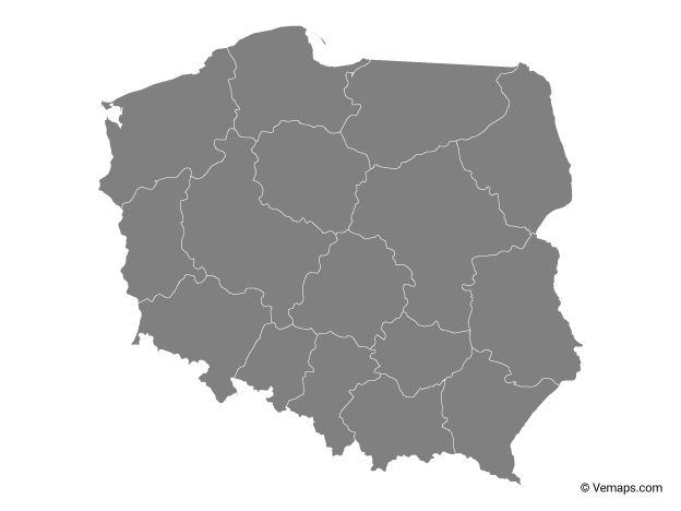 Grey Map of Poland with Provinces