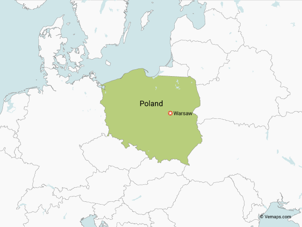 Map of Poland with Neighbouring Countries