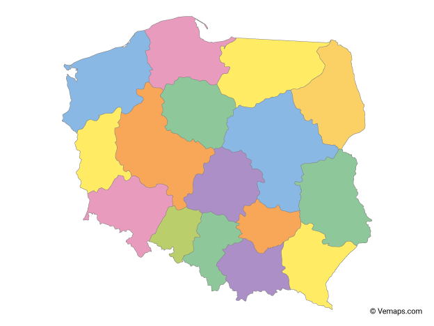 Multicolor Map of Poland with Provinces