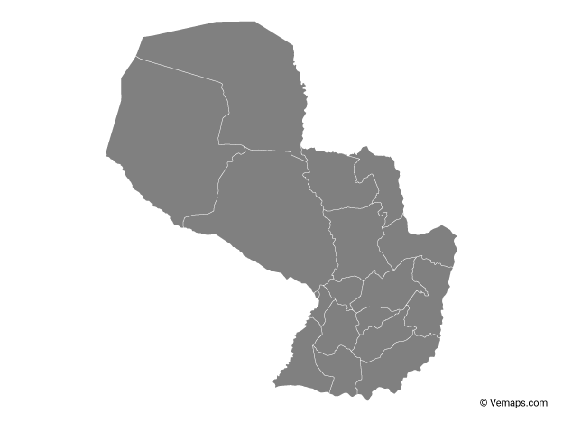 Grey Map of Paraguay with Departments