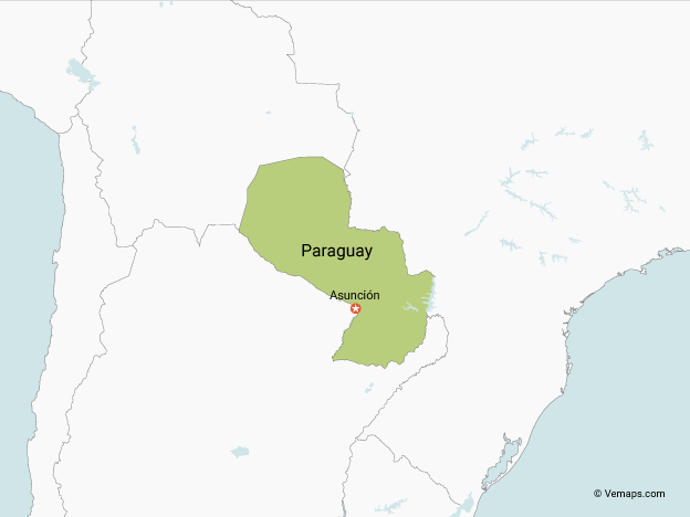 Map of Paraguay with Neighbouring Countries