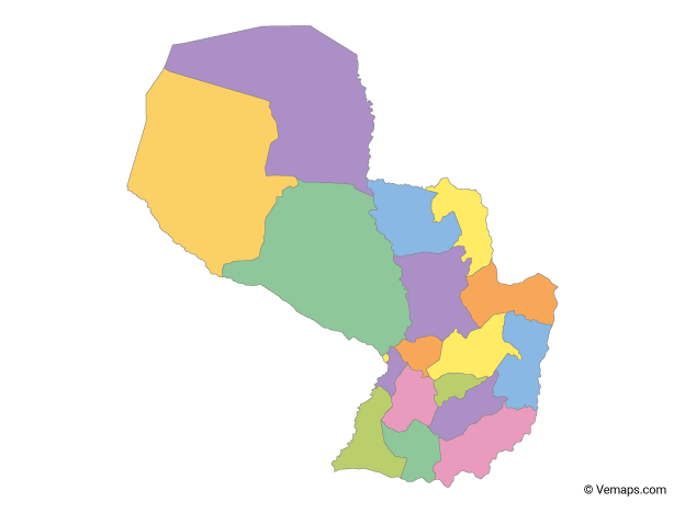 Multicolor Map of Paraguay with Departments