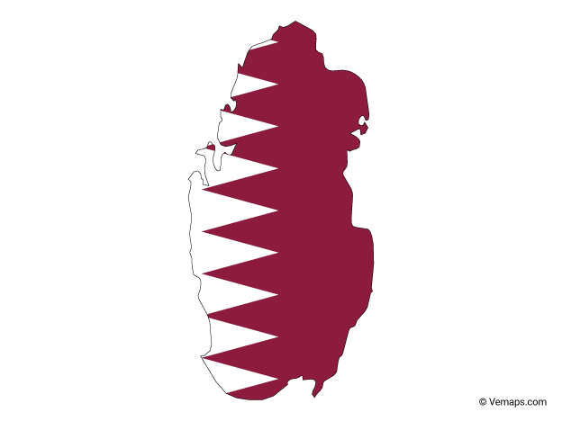 Flag Map of Qatar