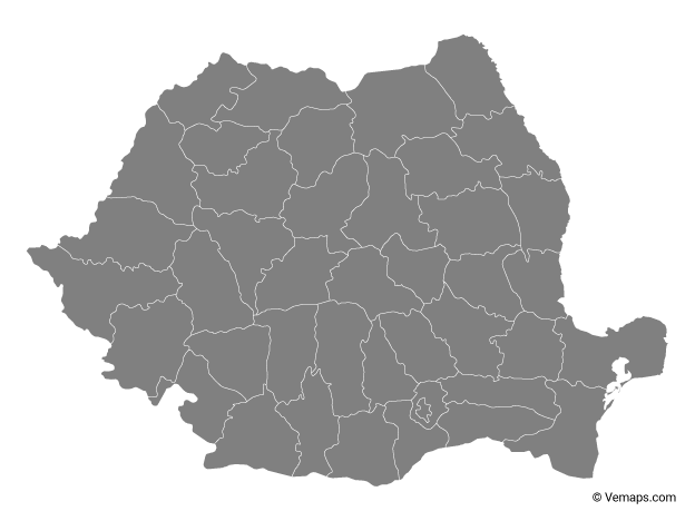 Grey Map of Romania with Counties