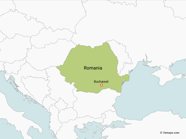 Map of Romania with Neighbouring Countries