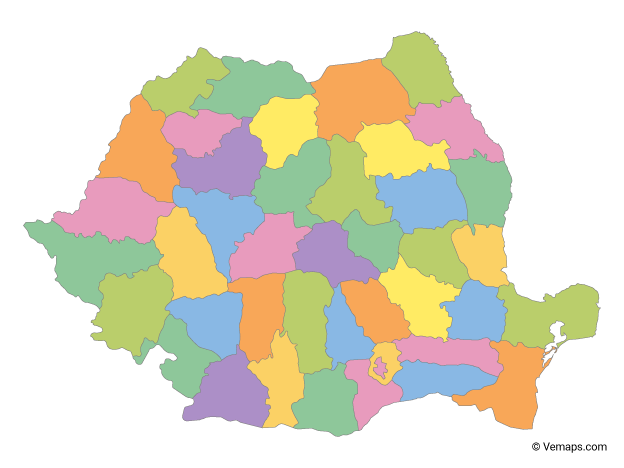 Multicolor Map of Romania with Counties