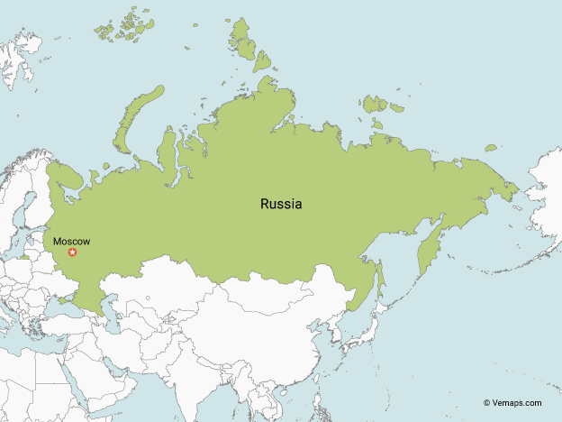 Map of Russia with Neighbouring Countries