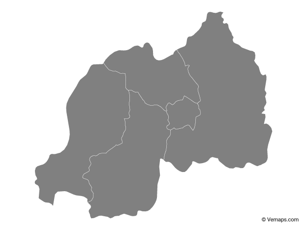Grey Map of Rwanda with Provinces
