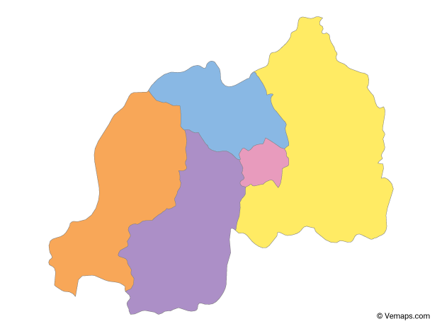 Multicolor Map of Rwanda with Provinces