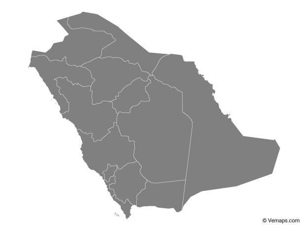 Grey Map of Saudi Arabia with Regions