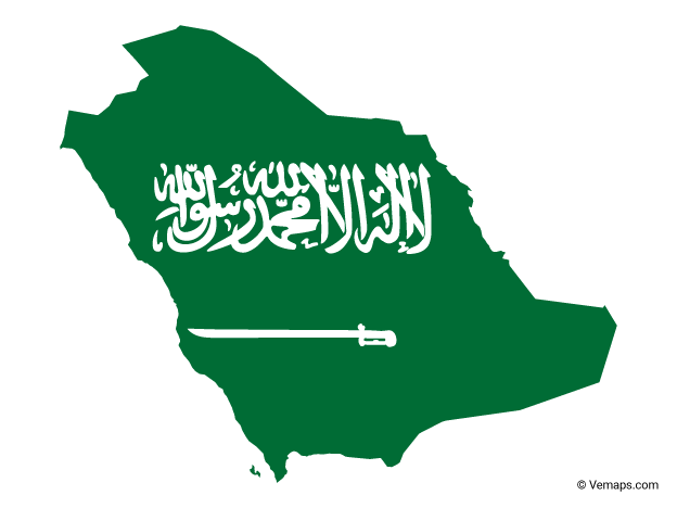 Flag Map of Saudi Arabia