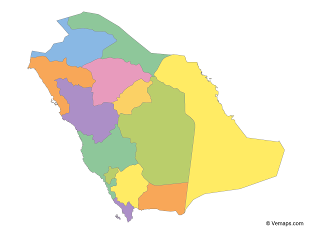 Multicolor Map of Saudi Arabia with Regions
