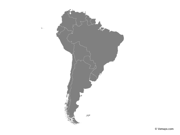 Grey Map of South America with Countries