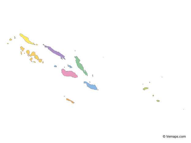Multicolor Map of Solomon Islands with Provinces