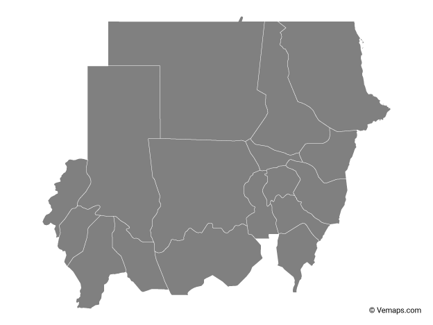 Grey Map of Sudan with States