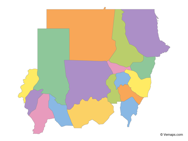 Multicolor Map of Sudan with States