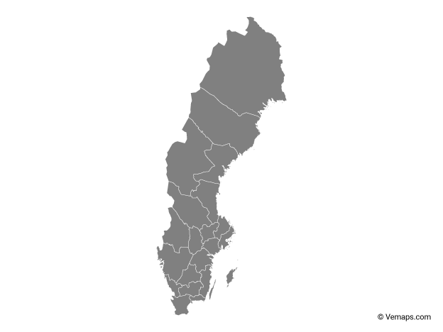 Grey Map of Sweden with Counties