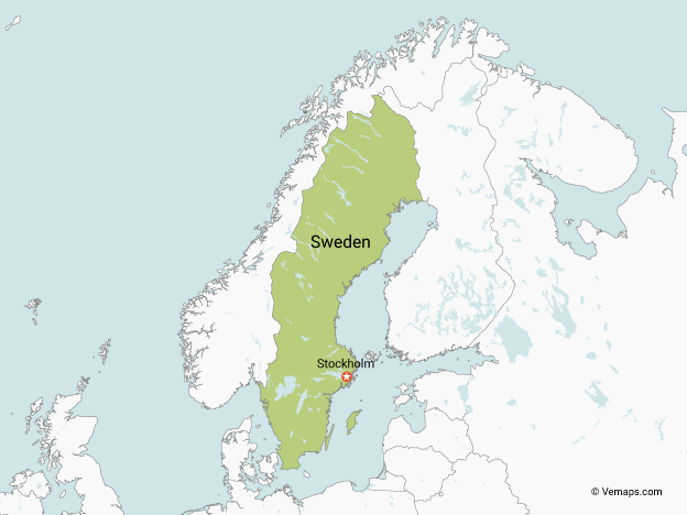 Map of Sweden with Neighbouring Countries