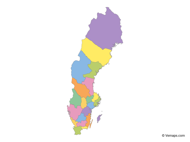 Multicolor Map of Sweden with Counties