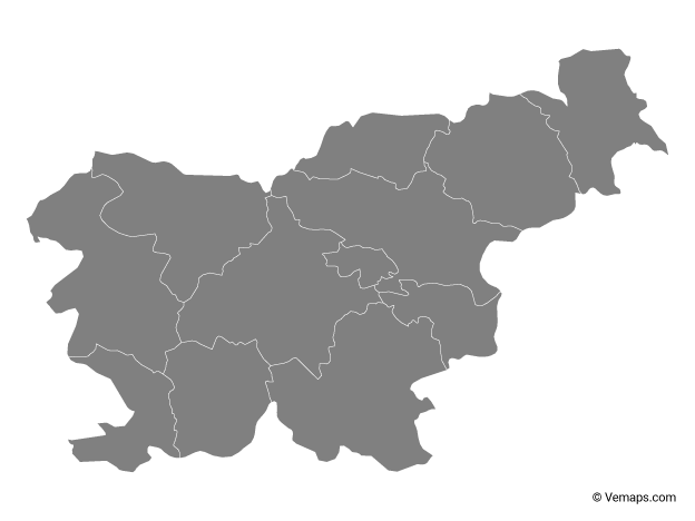 Grey Map of Slovenia with Statistical Regions
