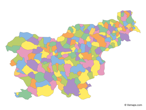 Multicolor Map of Slovenia with Statistical Regions