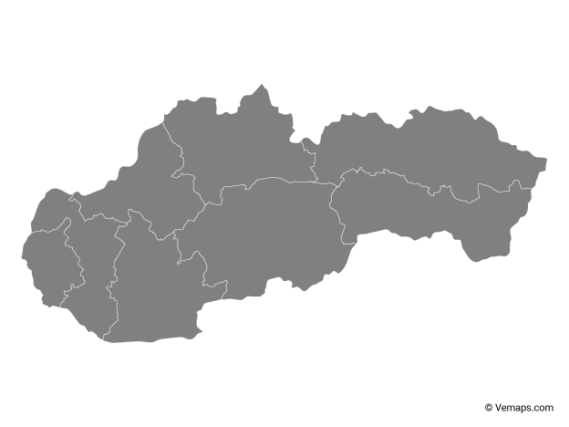 Grey Map of Slovakia with Regions