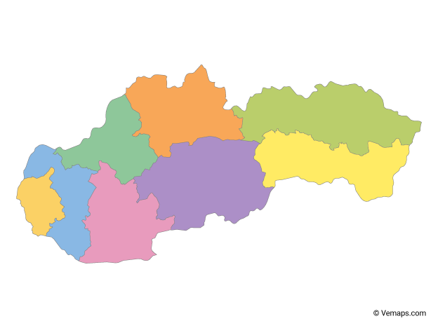 Multicolor Map of Slovakia with Regions