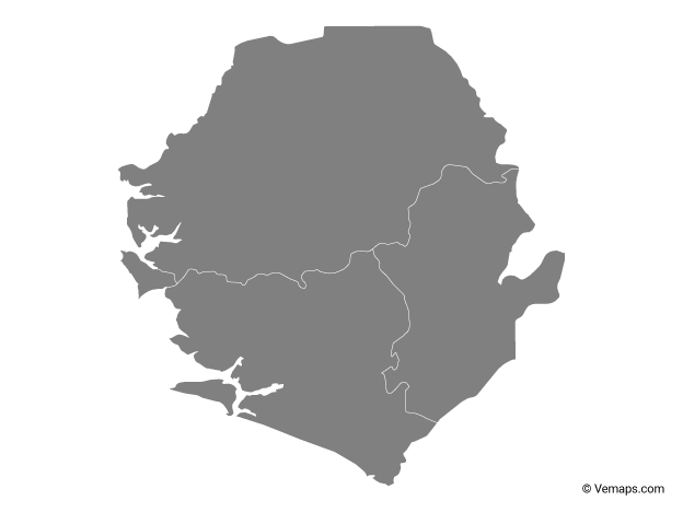 Grey Map of Sierra Leone with Provinces