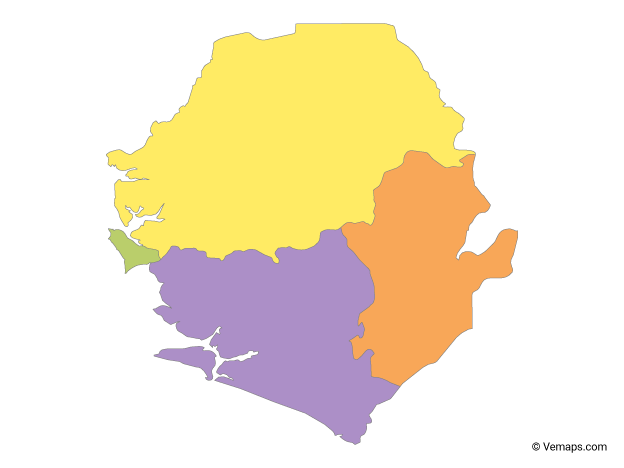 Multicolor Map of Sierra Leone with Provinces