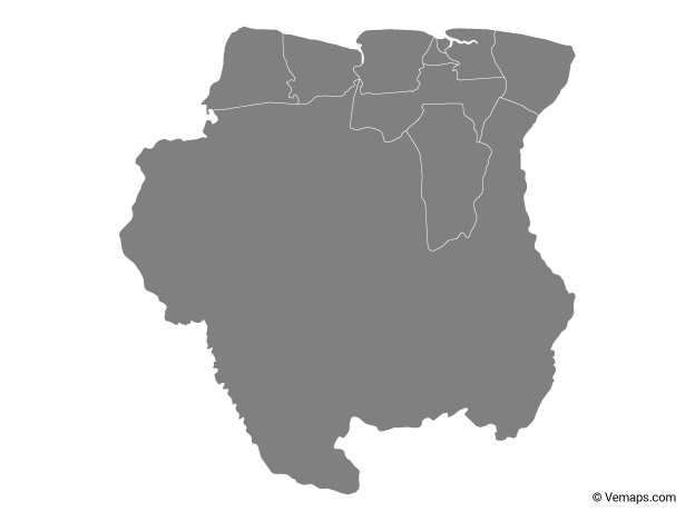 Grey Map of Suriname with Districts