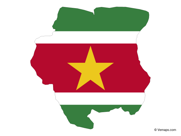 Flag Map of Suriname