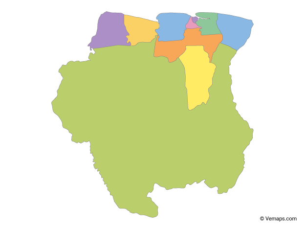 Multicolor Map of Suriname with Districts