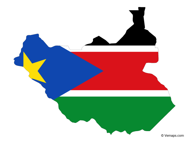 Flag Map of South Sudan