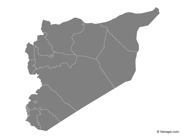 Grey Map of Syria with Governorates
