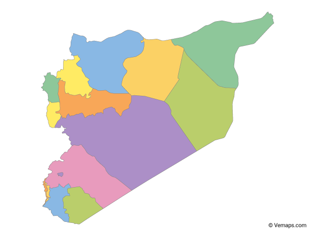 Multicolor Map of Syria with Governorates