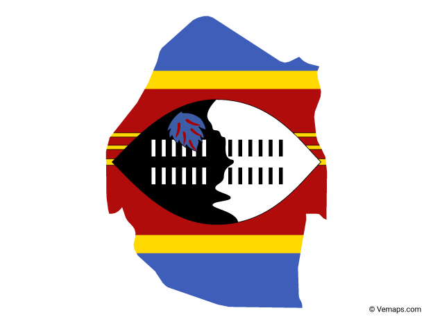 Flag Map of Swaziland