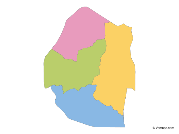 Multicolor Map of Swaziland with Regions