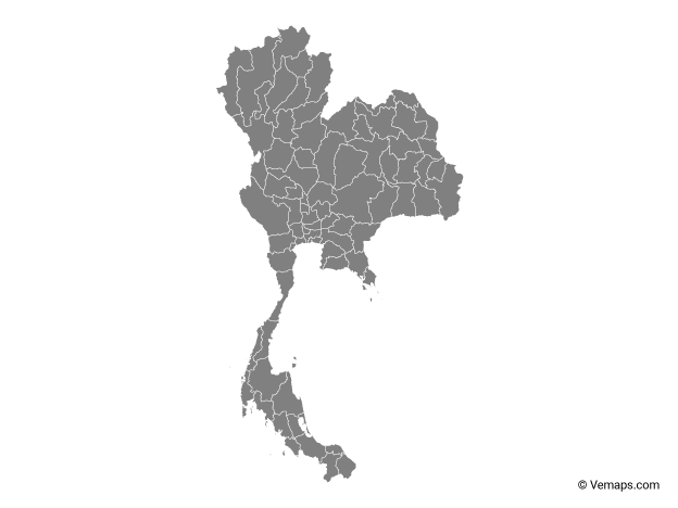 Grey Map of Thailand with Provinces
