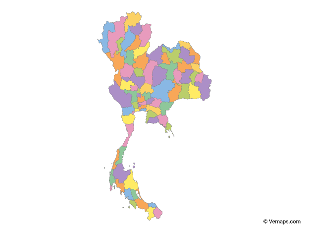 Multicolor Map of Thailand with Provinces