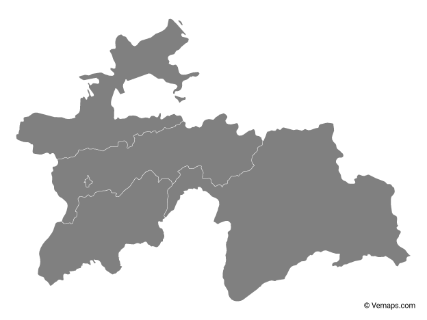 Grey Map of Tajikistan with Regions