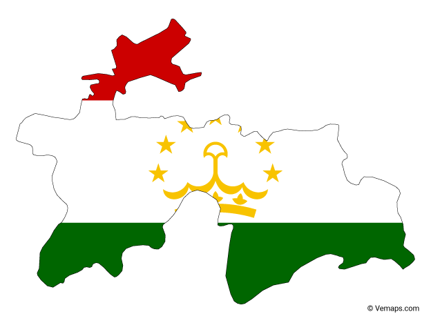 Flag Map of Tajikistan