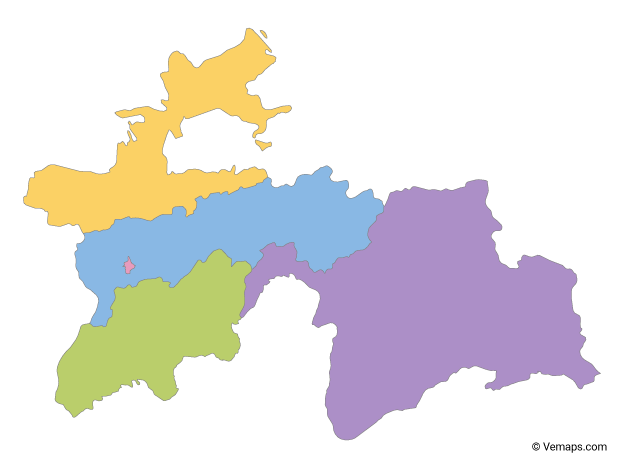 Multicolor Map of Tajikistan with Regions