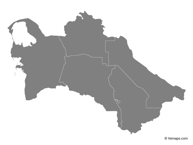 Grey Map of Turkmenistan with Regions