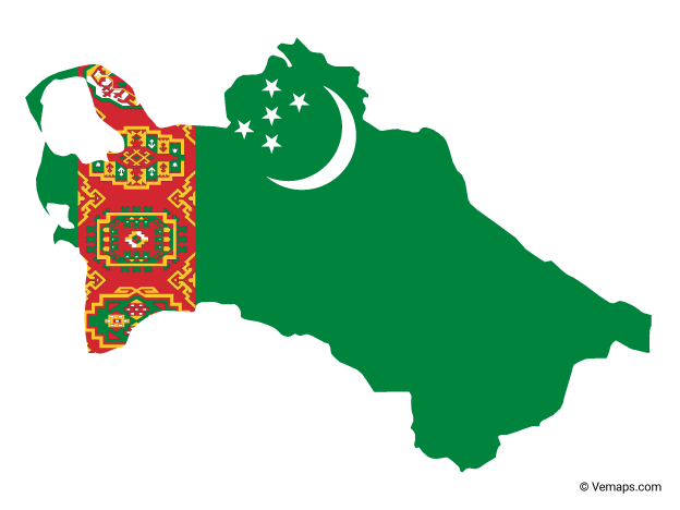 Flag Map of Turkmenistan