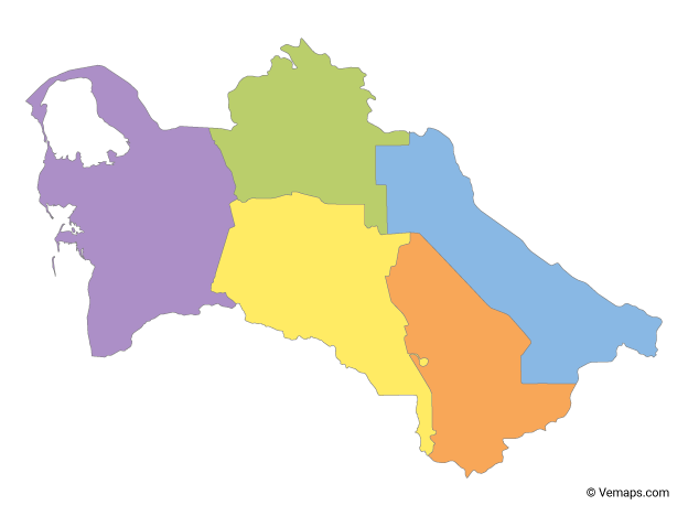 Multicolor Map of Turkmenistan with Regions