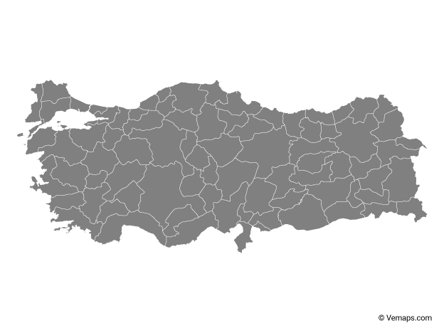Grey Map of Turkey with Provinces