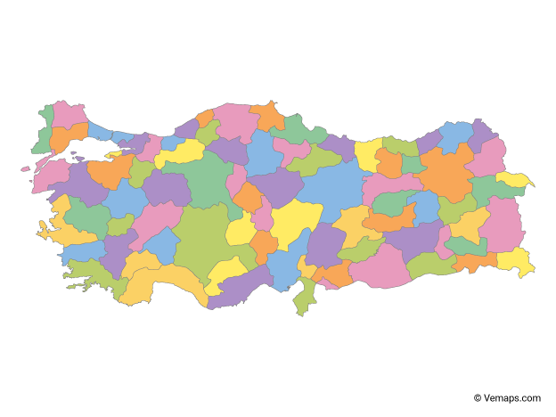 Multicolor Map of Turkey with Provinces