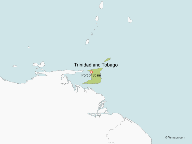 Map of Trinidad and Tobago with Neighbouring Countries
