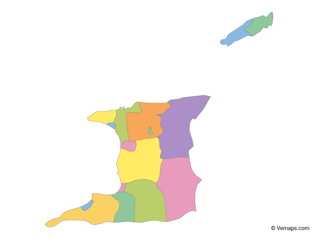 Multicolor Map of Trinidad and Tobago with Regions