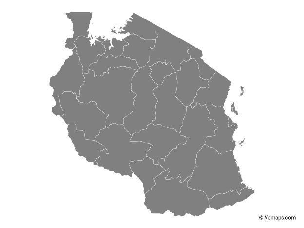 Grey Map of Tanzania with Regions